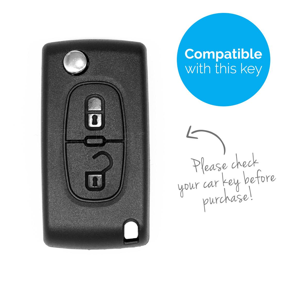 TBU car TBU car Autoschlüssel Hülle kompatibel mit Peugeot 2 Tasten - Schutzhülle aus Silikon - Auto Schlüsselhülle Cover in Weiß
