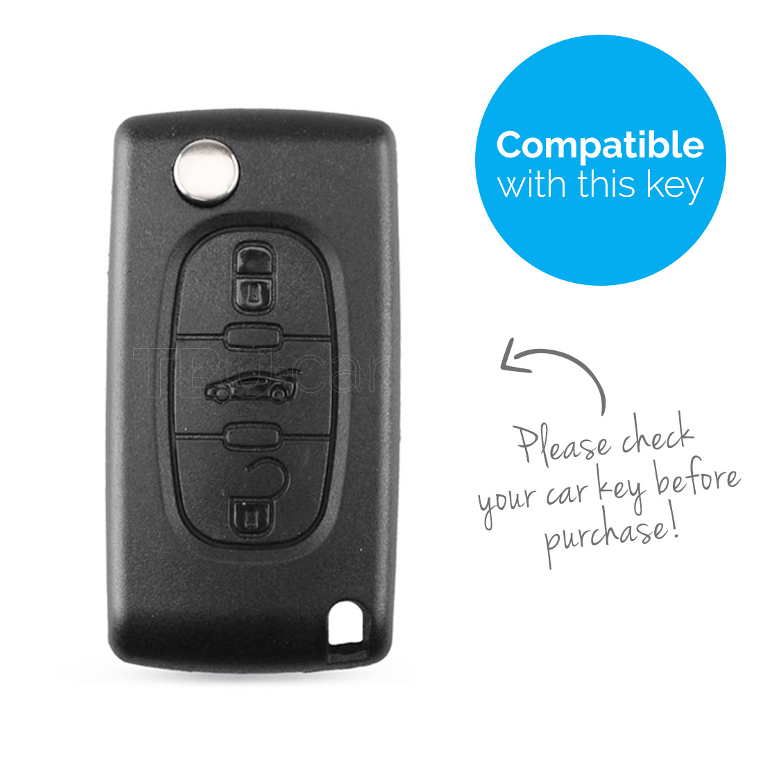 TBU car TBU car Autoschlüssel Hülle kompatibel mit Peugeot 3 Tasten - Schutzhülle aus Silikon - Auto Schlüsselhülle Cover in Schwarz