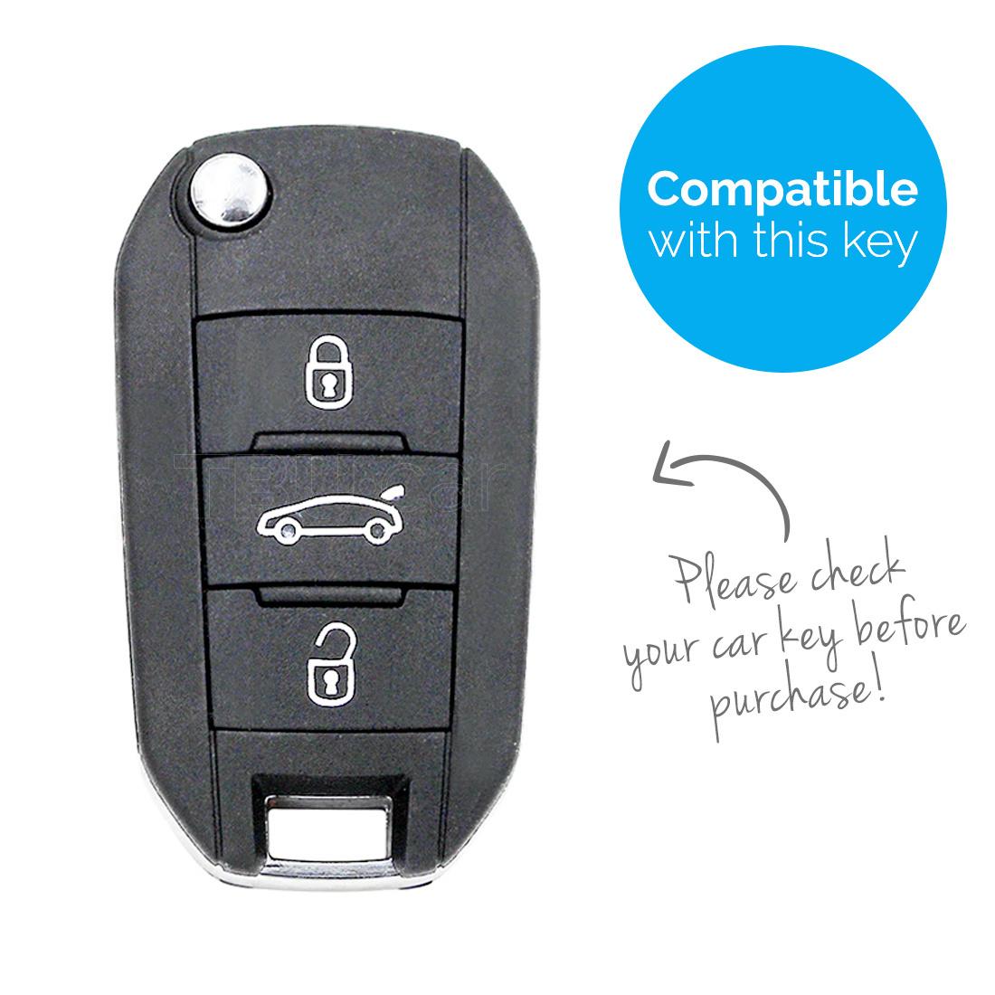 TBU car Autoschlüssel Hülle für Peugeot 3 Tasten - Schutzhülle aus Silikon - Auto Schlüsselhülle Cover in Im Dunkeln leuchten