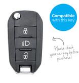 TBU car Autoschlüssel Hülle für Peugeot 3 Tasten (Licht Taste) - Schutzhülle aus Silikon - Auto Schlüsselhülle Cover in Weiß