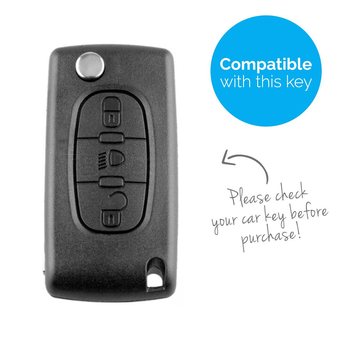TBU car Autoschlüssel Hülle für Peugeot 3 Tasten (Licht Taste) - Schutzhülle aus Silikon - Auto Schlüsselhülle Cover in Violett