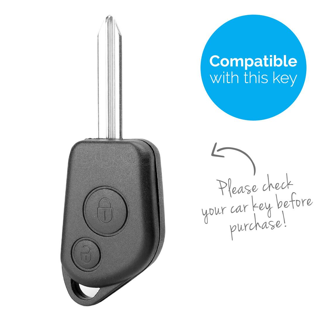 TBU car Autoschlüssel Hülle für Peugeot 2 Tasten - Schutzhülle aus Silikon - Auto Schlüsselhülle Cover in Rot