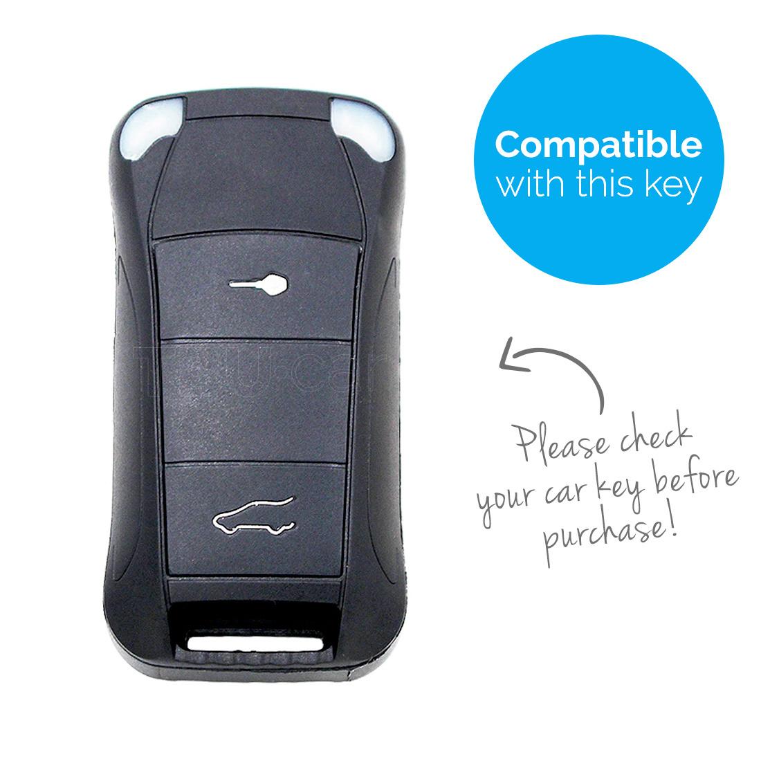 TBU car TBU car Autoschlüssel Hülle kompatibel mit Porsche 2 Tasten - Schutzhülle aus Silikon - Auto Schlüsselhülle Cover in Violett