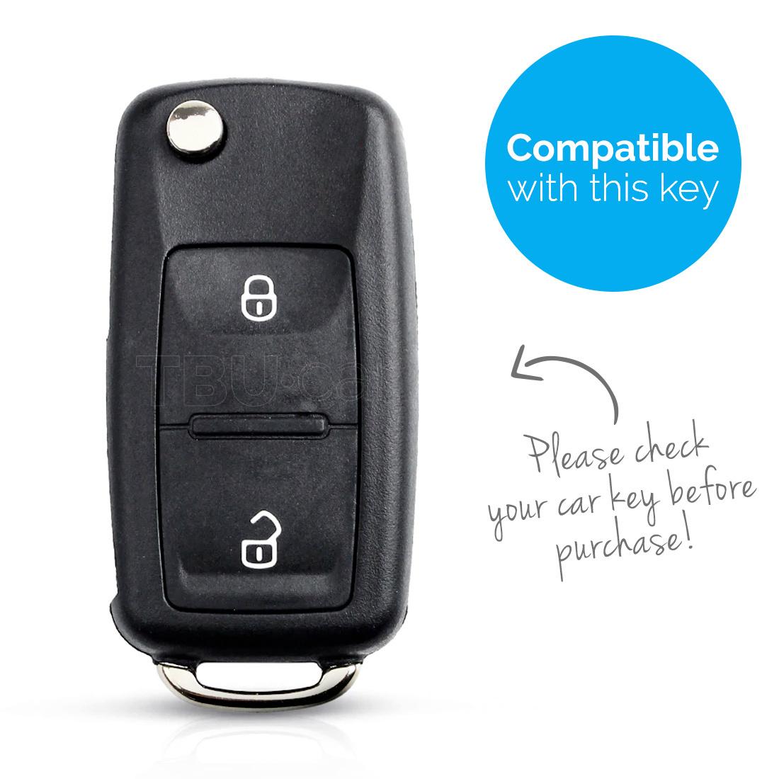 TBU car Autoschlüssel Hülle für Seat 2 Tasten - Schutzhülle aus TPU - Auto Schlüsselhülle Cover in Silber Chrom