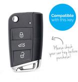 TBU car TBU car Autoschlüssel Hülle kompatibel mit Skoda 3 Tasten - Schutzhülle aus Silikon - Auto Schlüsselhülle Cover in Violett