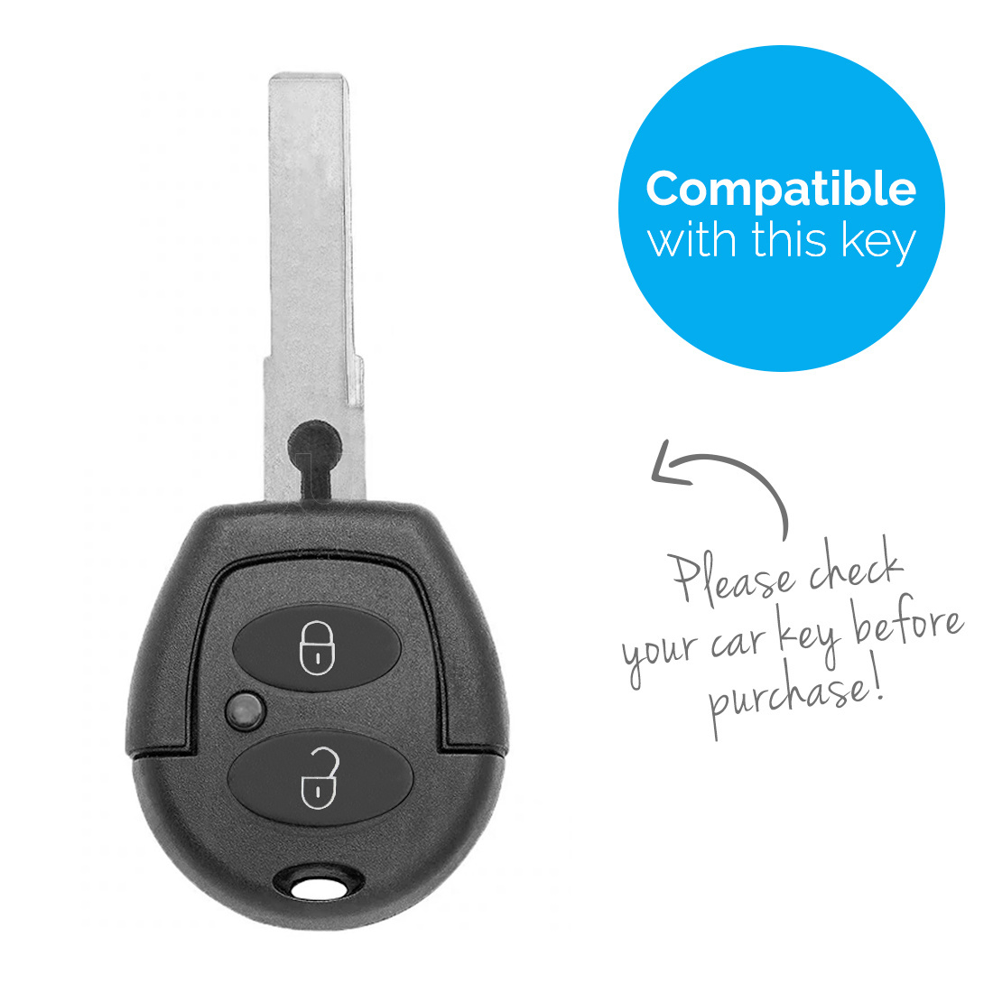 TBU car TBU car Autoschlüssel Hülle kompatibel mit Skoda 2 Tasten - Schutzhülle aus Silikon - Auto Schlüsselhülle Cover in Weiß
