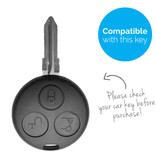 TBU car TBU car Sleutel cover compatibel met Smart - Silicone sleutelhoesje - beschermhoesje autosleutel - Wit