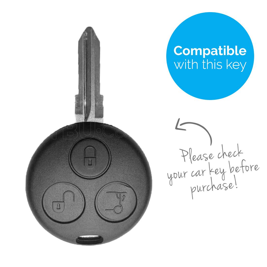 TBU car Autoschlüssel Hülle für Smart 3 Tasten - Schutzhülle aus Silikon - Auto Schlüsselhülle Cover in Im Dunkeln leuchten