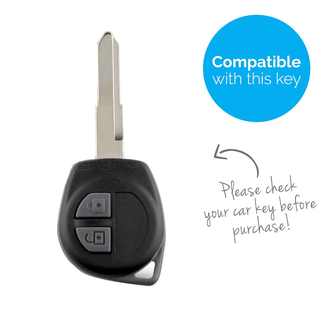 TBU car TBU car Autoschlüssel Hülle kompatibel mit Suzuki 2 Tasten - Schutzhülle aus Silikon - Auto Schlüsselhülle Cover in Schwarz