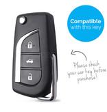 TBU car TBU car Autoschlüssel Hülle kompatibel mit Toyota 3 Tasten - Schutzhülle aus Silikon - Auto Schlüsselhülle Cover in Rosa