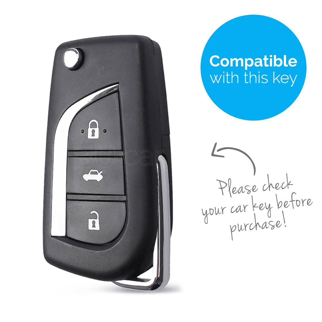 TBU car TBU car Autoschlüssel Hülle kompatibel mit Toyota 3 Tasten - Schutzhülle aus Silikon - Auto Schlüsselhülle Cover in Schwarz