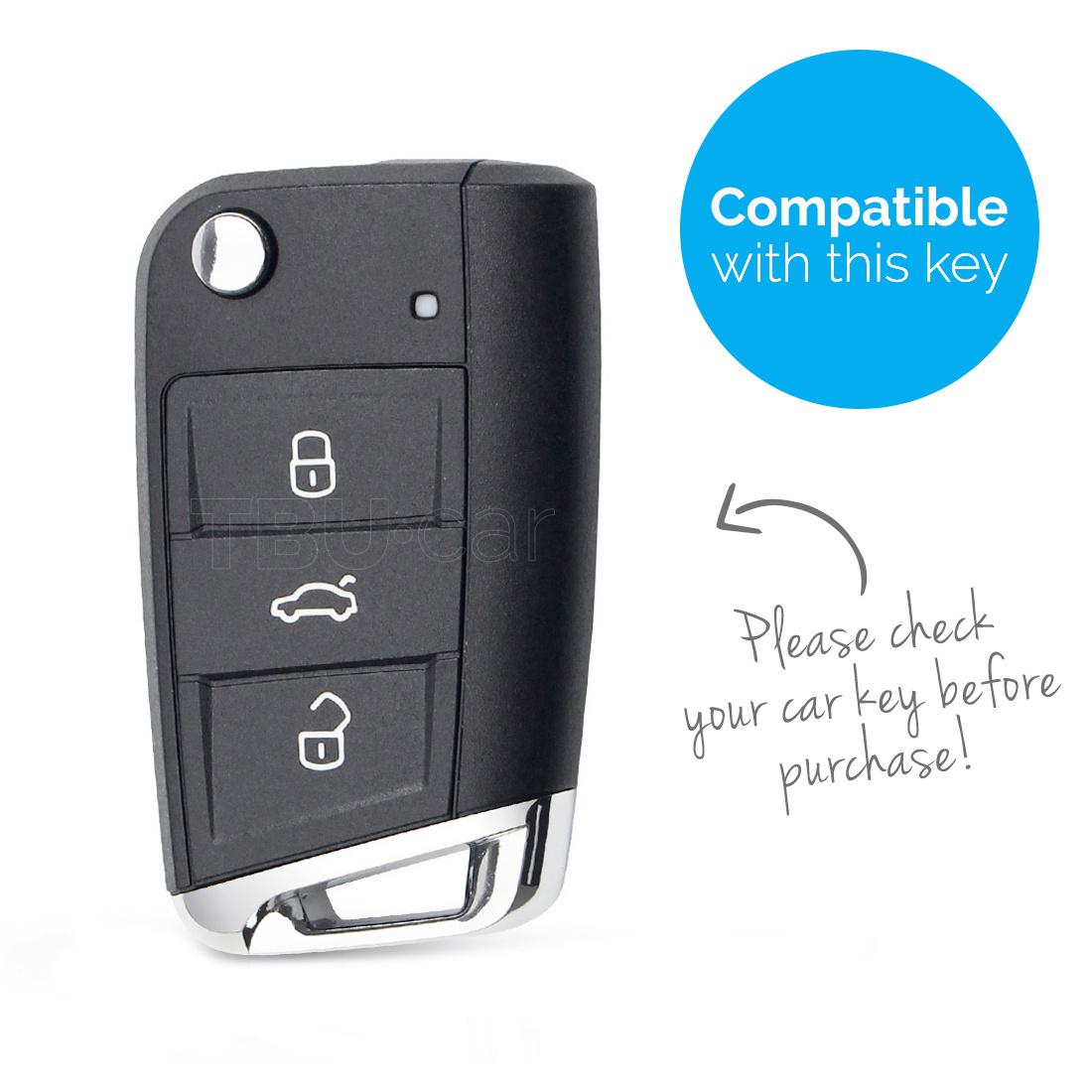 TBU car TBU car Autoschlüssel Hülle kompatibel mit VW 3 Tasten - Schutzhülle aus Silikon - Auto Schlüsselhülle Cover in Orange