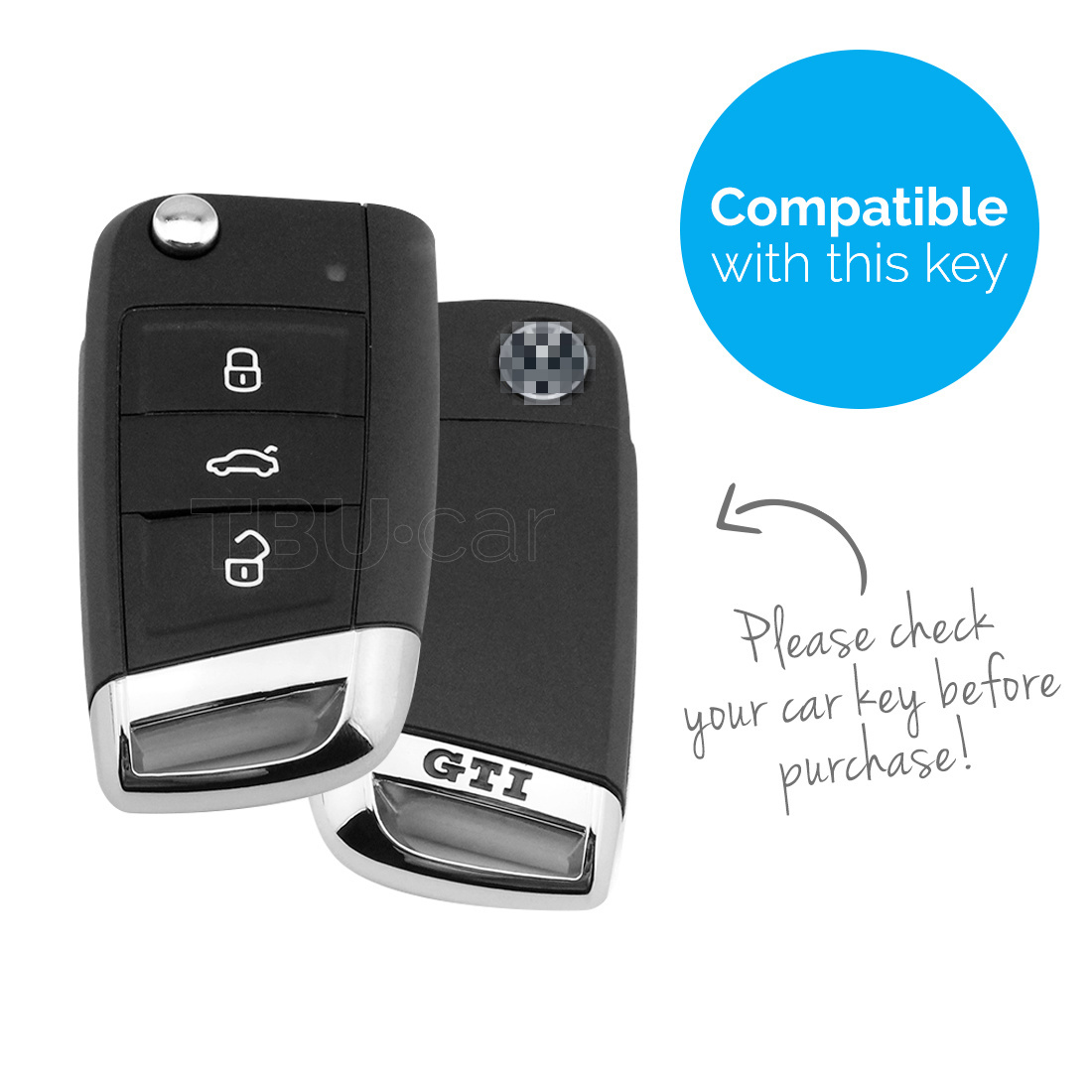 TBU car TBU car Autoschlüssel Hülle kompatibel mit VW GTI / R-Line 3 Tasten - Schutzhülle aus Silikon - Auto Schlüsselhülle Cover in Violett