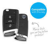 TBU car TBU car Autoschlüssel Hülle kompatibel mit VW GTI / R-Line 3 Tasten - Schutzhülle aus Silikon - Auto Schlüsselhülle Cover in Weiß