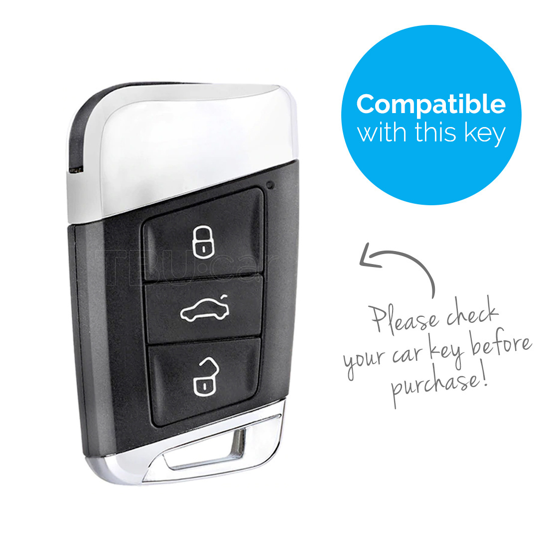 TBU car TBU car Sleutel cover compatibel met VW - TPU sleutel hoesje / beschermhoesje autosleutel - Chrome