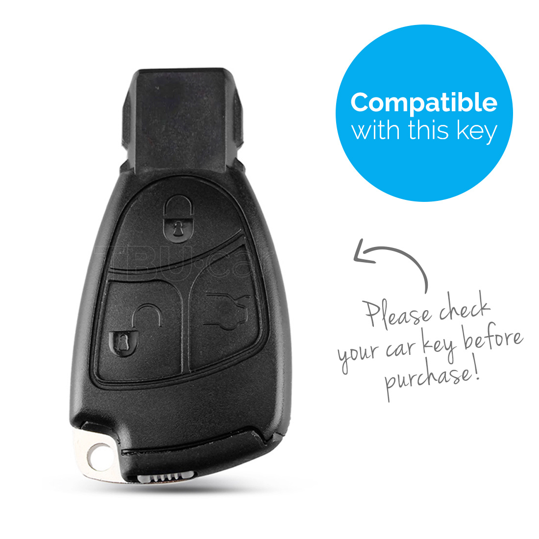 TBU car TBU car Sleutel cover compatibel met Mercedes - Silicone sleutelhoesje - beschermhoesje autosleutel - Wit