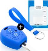 TBU car TBU car Autoschlüssel Hülle kompatibel mit VW 2 Tasten - Schutzhülle aus Silikon - Auto Schlüsselhülle Cover in Blau