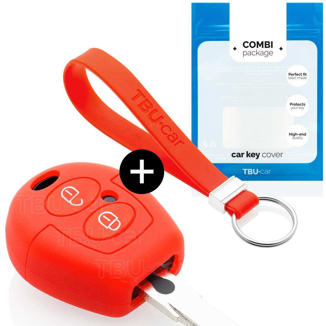 TBU car Autoschlüssel Hülle für Seat 2 Tasten - Schutzhülle aus Silikon - Auto Schlüsselhülle Cover in Rot