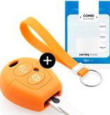 TBU car Autoschlüssel Hülle für Seat 2 Tasten - Schutzhülle aus Silikon - Auto Schlüsselhülle Cover in Orange