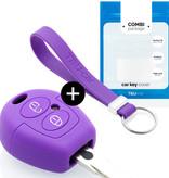 TBU car TBU car Autoschlüssel Hülle kompatibel mit Seat 2 Tasten - Schutzhülle aus Silikon - Auto Schlüsselhülle Cover in Violett