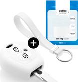 TBU car TBU car Sleutel cover compatibel met Skoda - Silicone sleutelhoesje - beschermhoesje autosleutel - Wit