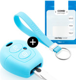 TBU car Autoschlüssel Hülle für Skoda 2 Tasten - Schutzhülle aus Silikon - Auto Schlüsselhülle Cover in Hellblau