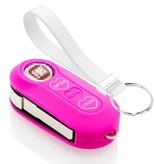 TBU car TBU car Sleutel cover compatibel met Fiat - Silicone sleutelhoesje - beschermhoesje autosleutel - Neon Roze (Hartjes)