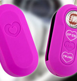 TBU car TBU car Autoschlüssel Hülle kompatibel mit Fiat 3 Tasten - Schutzhülle aus Silikon - Auto Schlüsselhülle Cover in Neon Pink (Herzen)