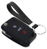 TBU car TBU car Autoschlüssel Hülle kompatibel mit Seat 3 Tasten - Schutzhülle aus Silikon - Auto Schlüsselhülle Cover in Schwarz