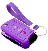 TBU car TBU car Sleutel cover compatibel met Skoda - Silicone sleutelhoesje - beschermhoesje autosleutel - Paars