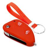 TBU car TBU car Autoschlüssel Hülle kompatibel mit Alfa Romeo 2 Tasten - Schutzhülle aus Silikon - Auto Schlüsselhülle Cover in Rot