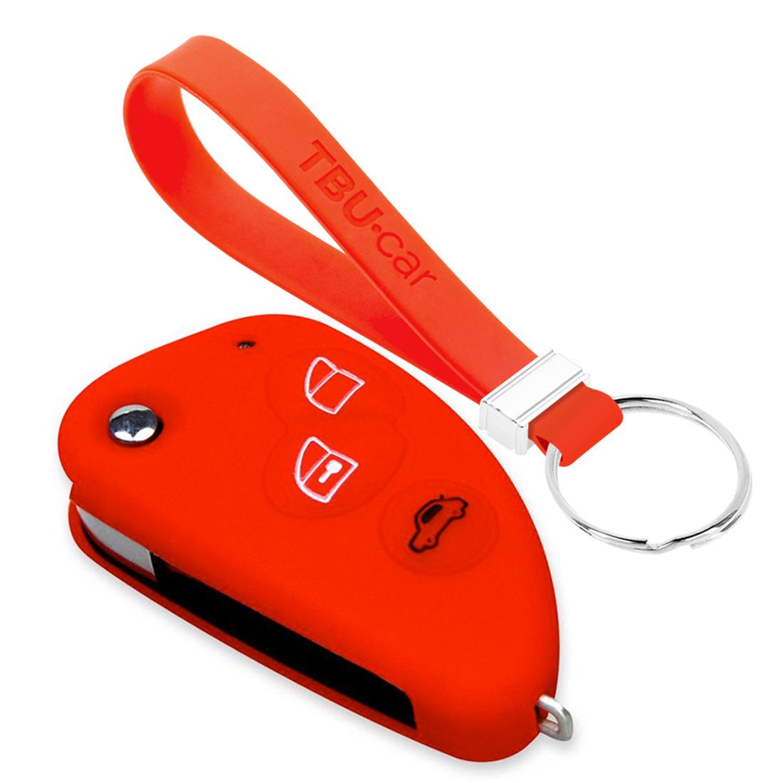 TBU car TBU car Autoschlüssel Hülle kompatibel mit Alfa Romeo 3 Tasten - Schutzhülle aus Silikon - Auto Schlüsselhülle Cover in Rot
