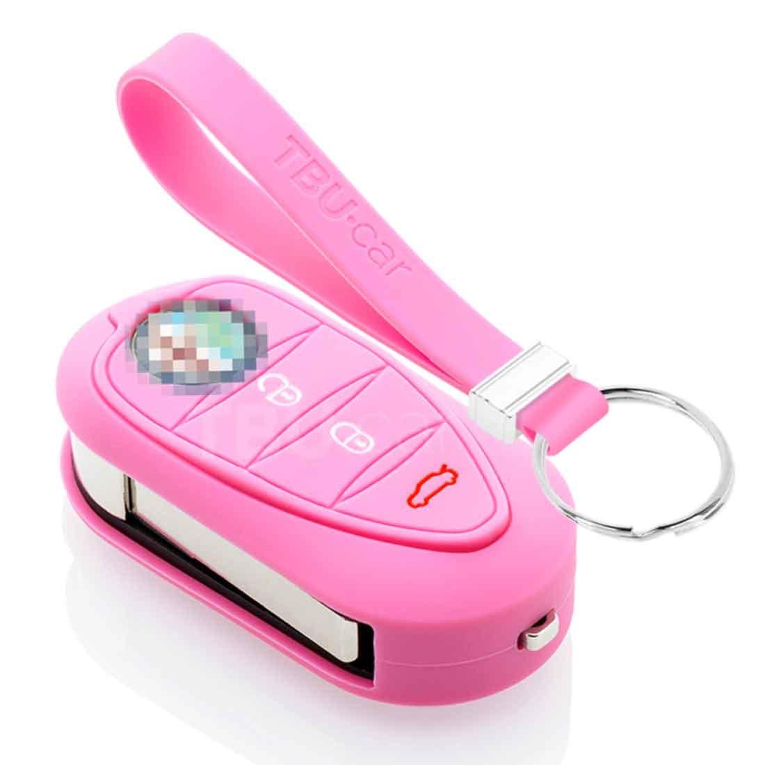 TBU car TBU car Sleutel cover compatibel met Alfa Romeo - Silicone sleutelhoesje - beschermhoesje autosleutel - Roze