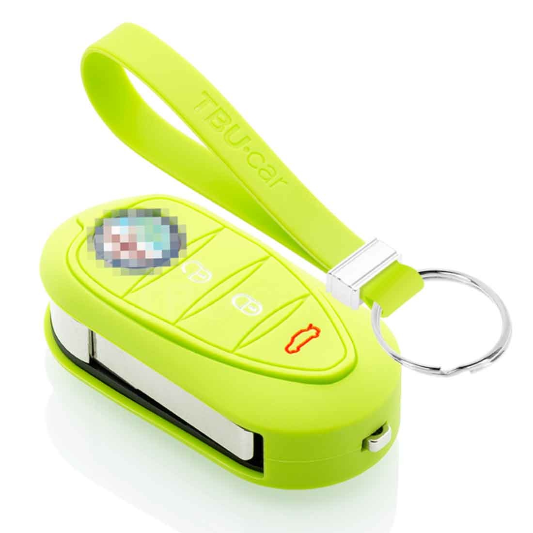 TBU car TBU car Sleutel cover compatibel met Alfa Romeo - Silicone sleutelhoesje - beschermhoesje autosleutel - Lime groen