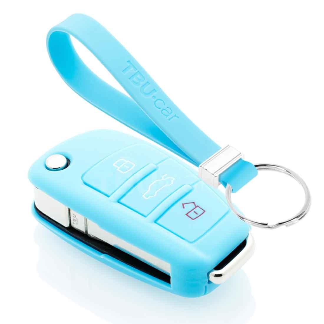 TBU car TBU car Sleutel cover compatibel met Audi - Silicone sleutelhoesje - beschermhoesje autosleutel - Lichtblauw