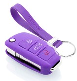 TBU car TBU car Autoschlüssel Hülle kompatibel mit Audi 3 Tasten - Schutzhülle aus Silikon - Auto Schlüsselhülle Cover in Violett