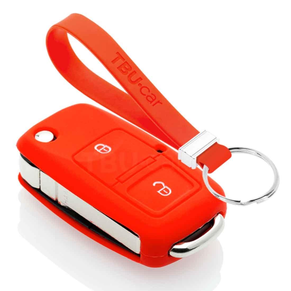 TBU car TBU car Autoschlüssel Hülle kompatibel mit Audi 2 Tasten - Schutzhülle aus Silikon - Auto Schlüsselhülle Cover in Rot