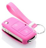 TBU car TBU car Autoschlüssel Hülle kompatibel mit Audi 2 Tasten - Schutzhülle aus Silikon - Auto Schlüsselhülle Cover in Rosa
