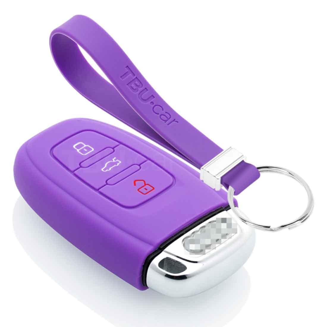TBU car TBU car Autoschlüssel Hülle kompatibel mit Audi 3 Tasten (Keyless Entry) - Schutzhülle aus Silikon - Auto Schlüsselhülle Cover in Violett