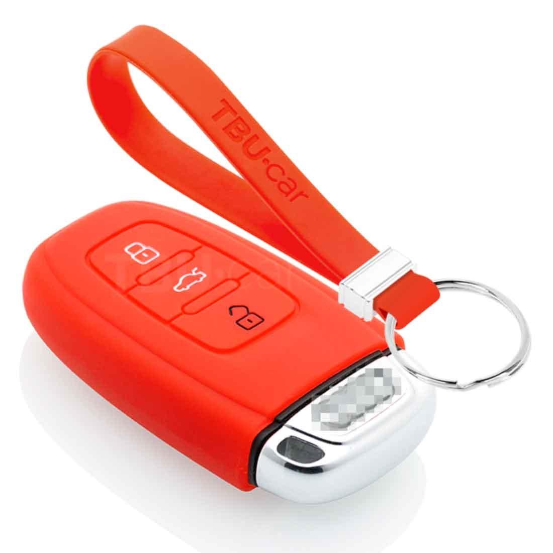 TBU car TBU car Autoschlüssel Hülle kompatibel mit Audi 3 Tasten (Keyless Entry) - Schutzhülle aus Silikon - Auto Schlüsselhülle Cover in Rot
