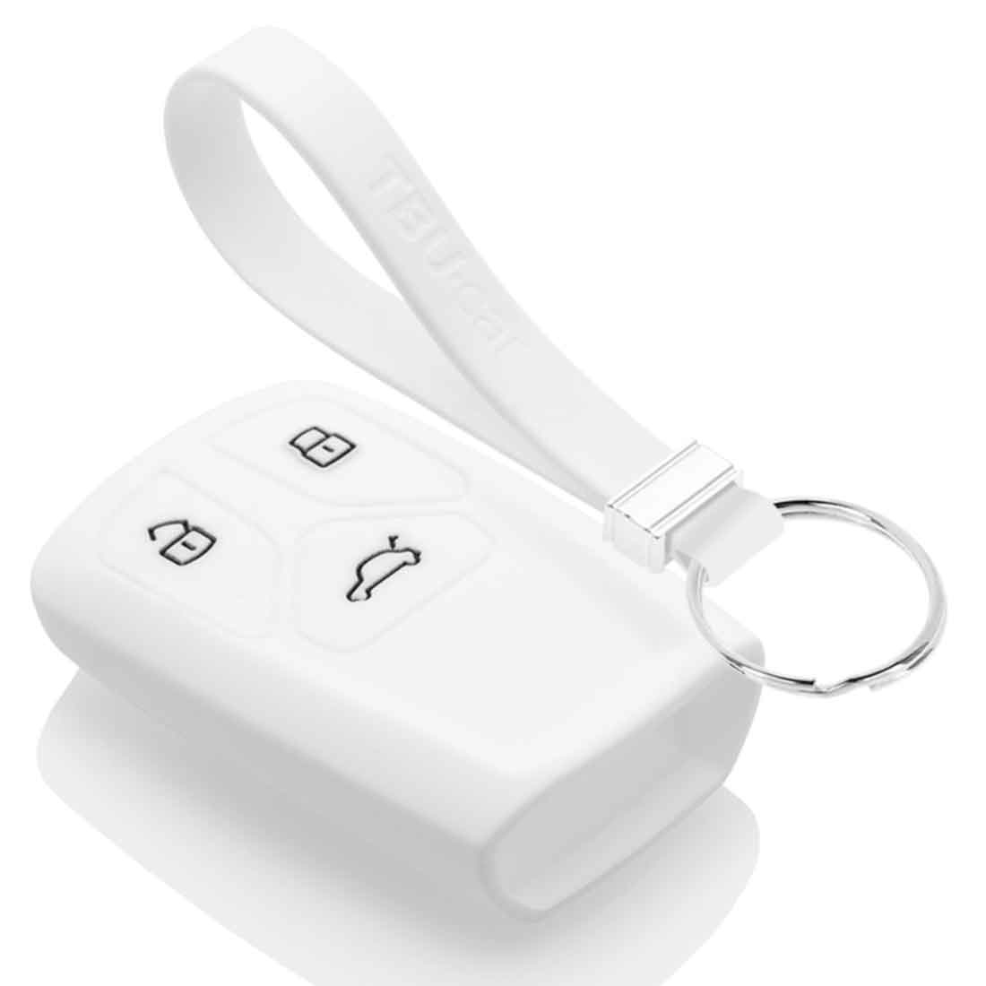 TBU car TBU car Autoschlüssel Hülle kompatibel mit Audi 3 Tasten (Keyless Entry) - Schutzhülle aus Silikon - Auto Schlüsselhülle Cover in Weiß