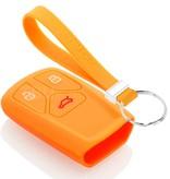 TBU car TBU car Autoschlüssel Hülle kompatibel mit Audi 3 Tasten (Keyless Entry) - Schutzhülle aus Silikon - Auto Schlüsselhülle Cover in Orange