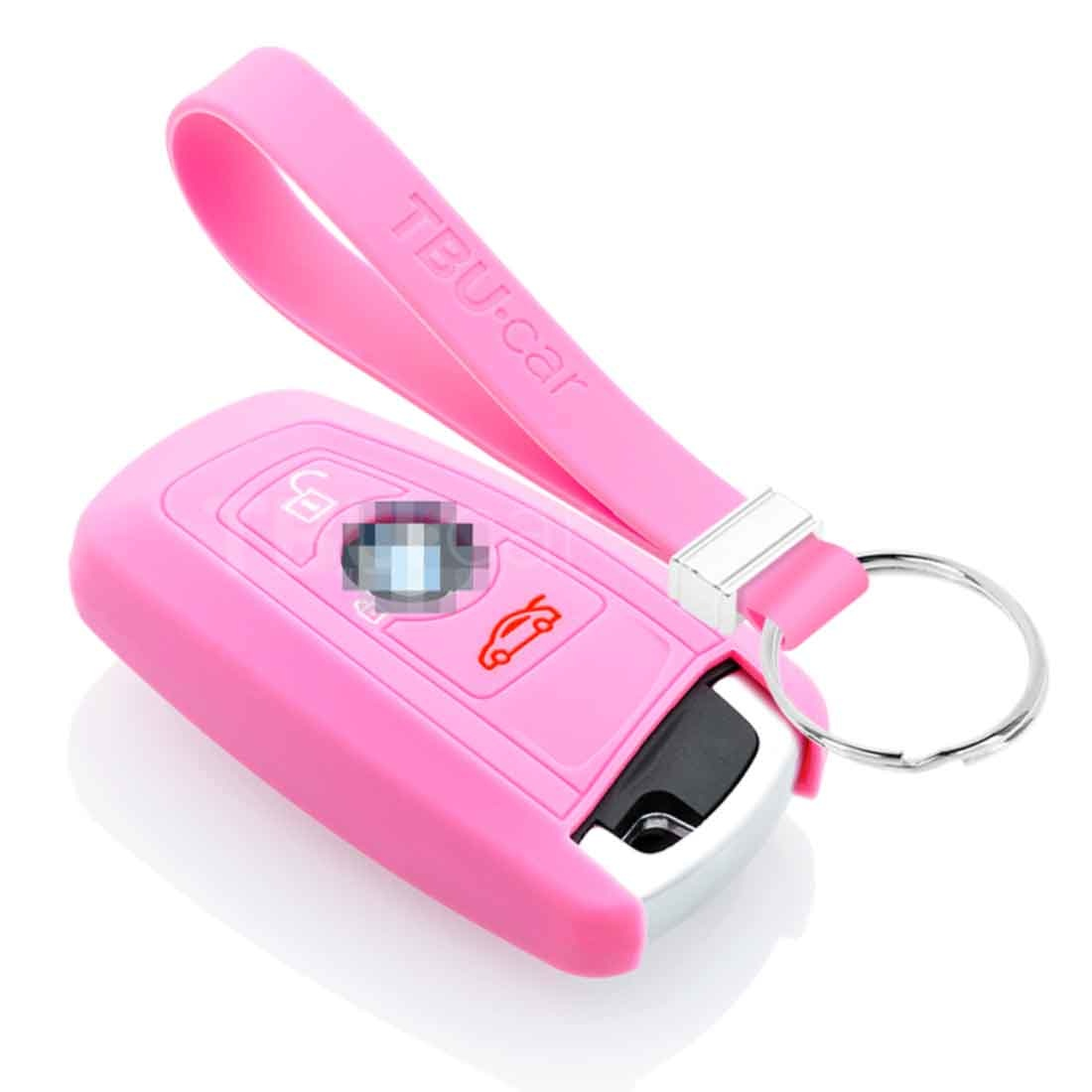 TBU car TBU car Car key cover compatible with BMW - Silicone Protective Remote Key Shell - FOB Case Cover - Pink