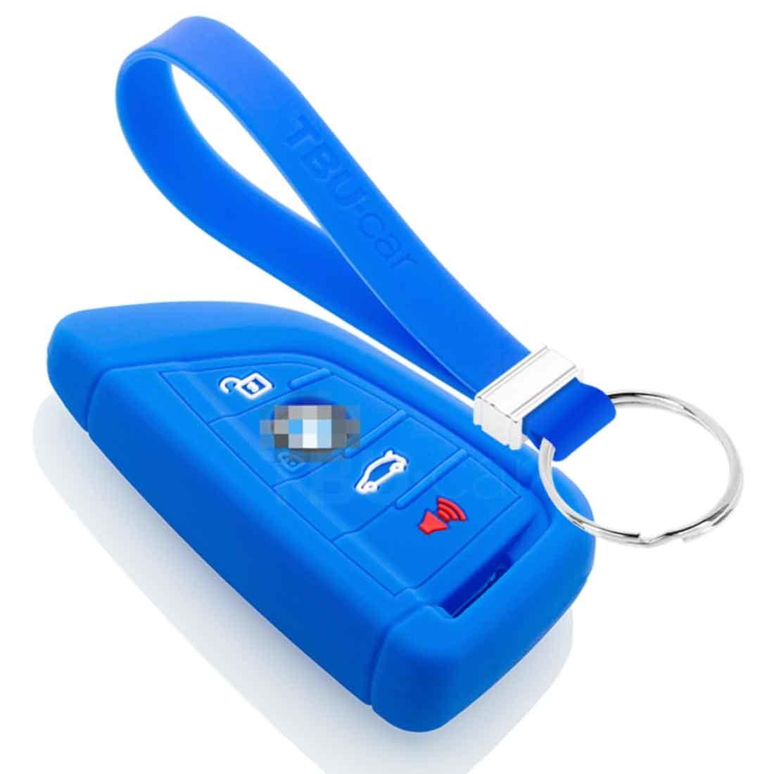 TBU car TBU car Autoschlüssel Hülle kompatibel mit BMW 4 Tasten (Keyless Entry) - Schutzhülle aus Silikon - Auto Schlüsselhülle Cover in Blau