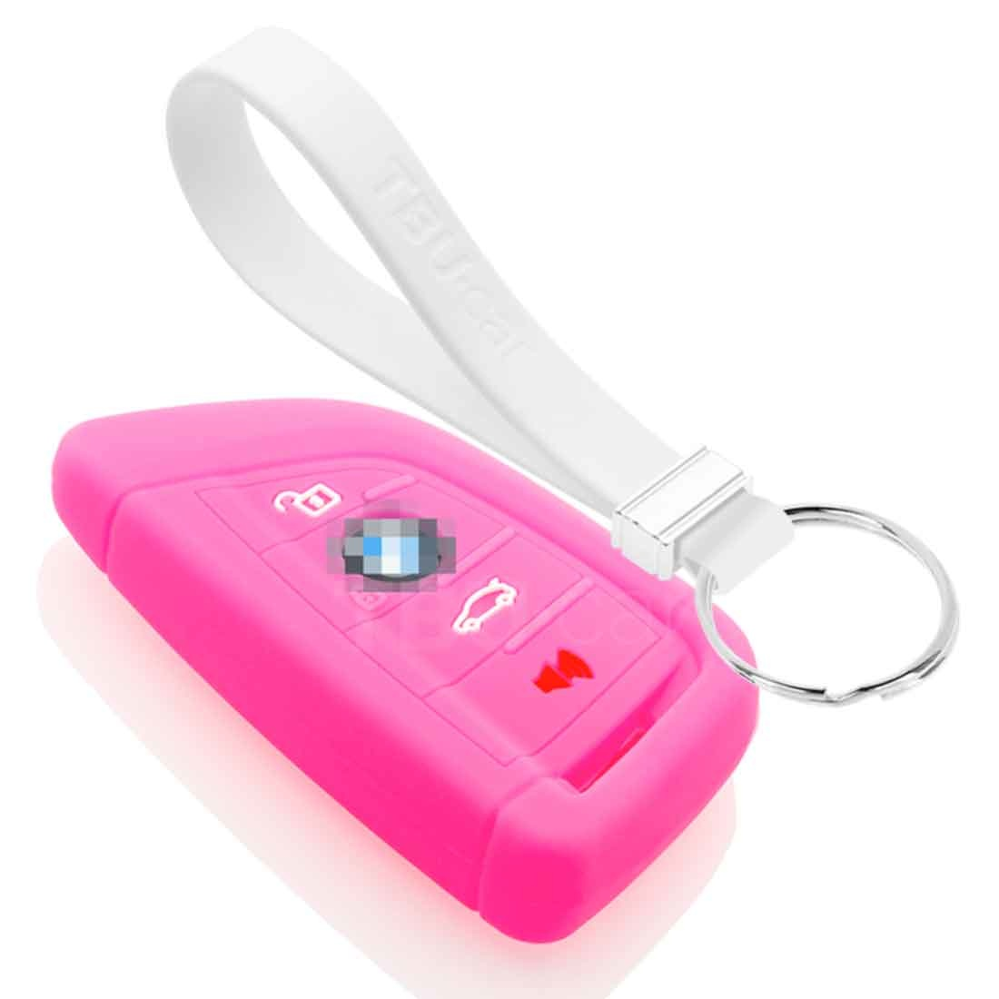 TBU car TBU car Sleutel cover compatibel met BMW - Silicone sleutelhoesje - beschermhoesje autosleutel - Fluor Roze