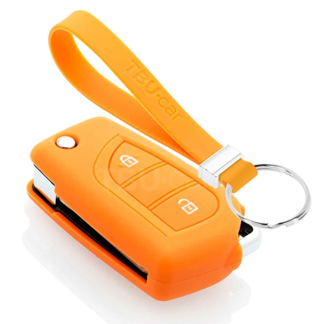 TBU car TBU car Funda Carcasa llave compatible con Citroën - Funda de Silicona - Cover de Llave Coche - Naranja