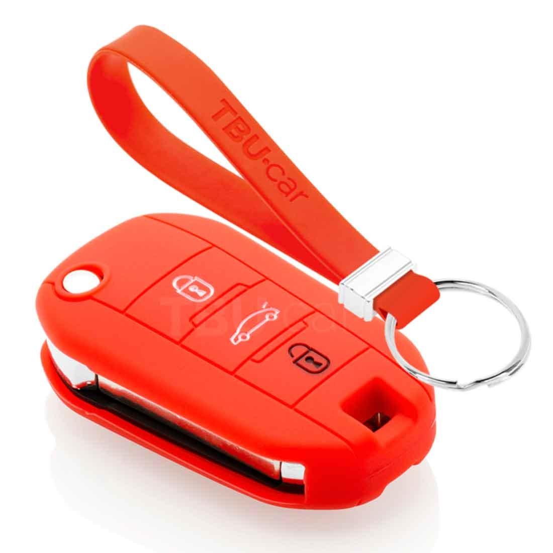 TBU car TBU car Autoschlüssel Hülle kompatibel mit Citroën 3 Tasten - Schutzhülle aus Silikon - Auto Schlüsselhülle Cover in Rot
