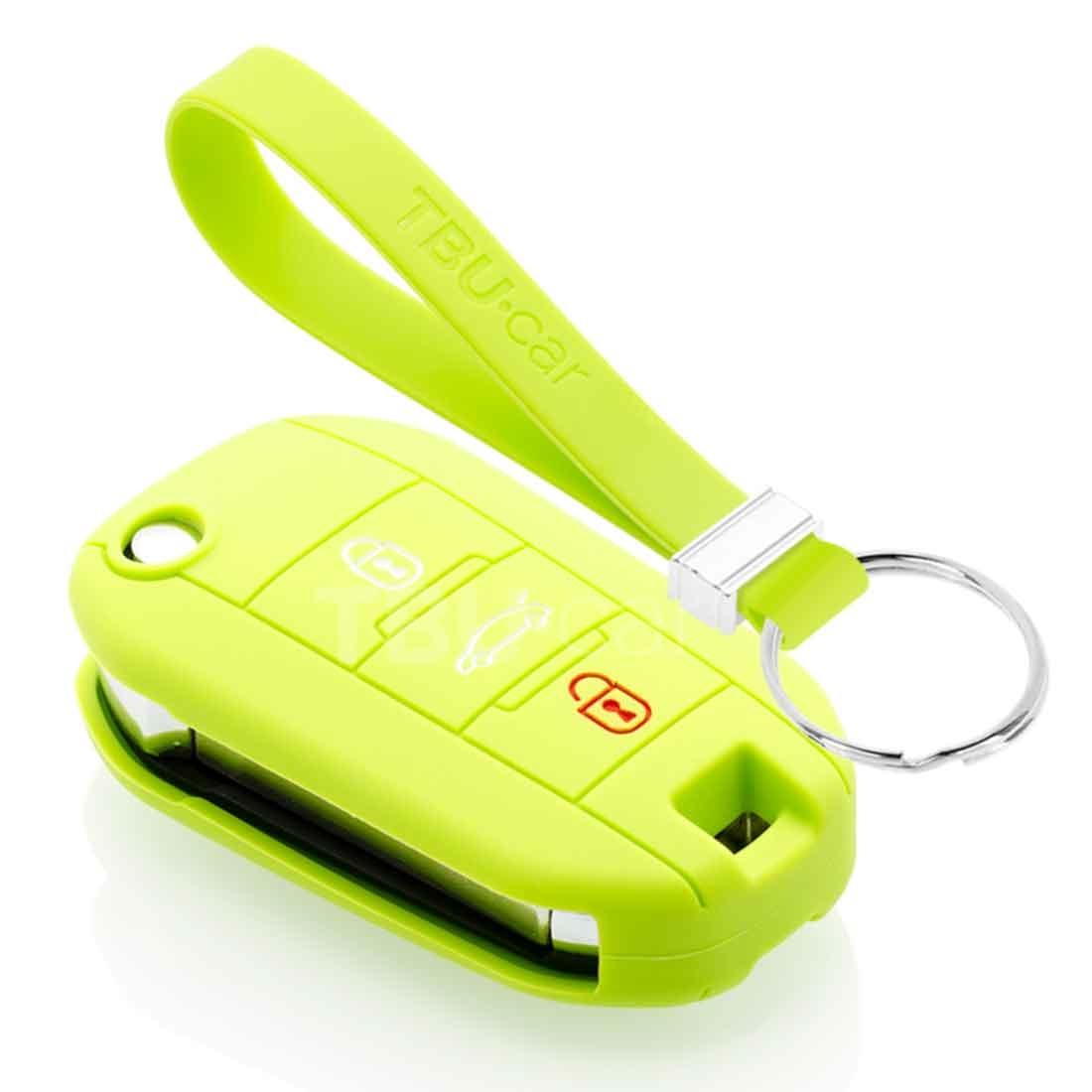 TBU car TBU car Autoschlüssel Hülle kompatibel mit Citroën 3 Tasten - Schutzhülle aus Silikon - Auto Schlüsselhülle Cover in Lindgrün
