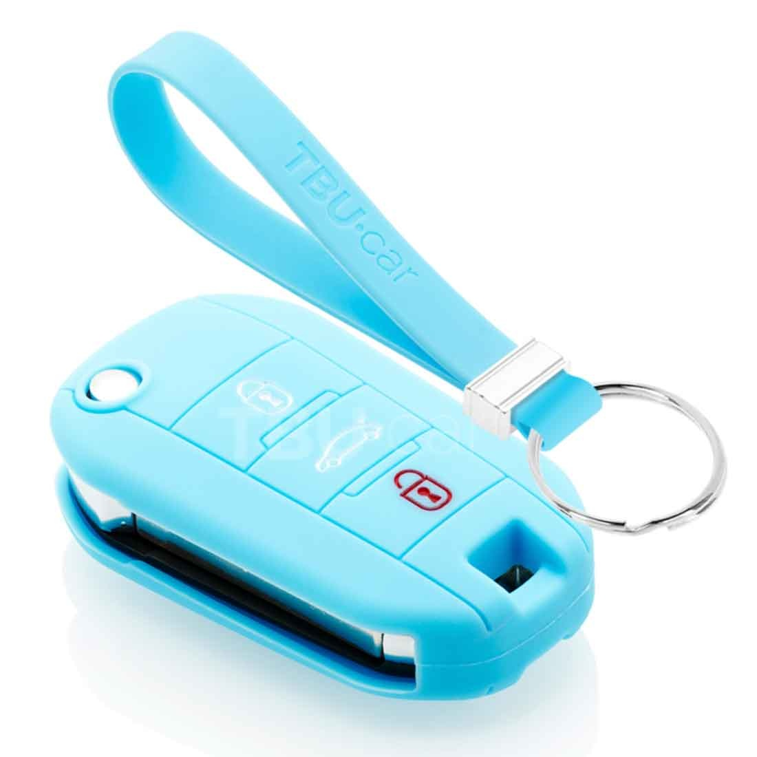 TBU car TBU car Car key cover compatible with Citroën - Silicone Protective Remote Key Shell - FOB Case Cover - Light Blue