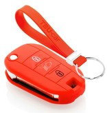 TBU car TBU car Autoschlüssel Hülle kompatibel mit Peugeot 3 Tasten (Licht Taste) - Schutzhülle aus Silikon - Auto Schlüsselhülle Cover in Rot